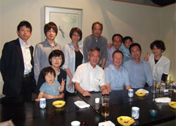 Peter Barton with Japanese staff and students
