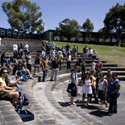 Students gathered in amphitheatre at Churchill campus